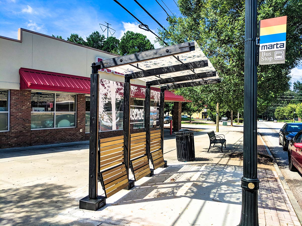Perspective photo of bus stop shelter in cascade heights