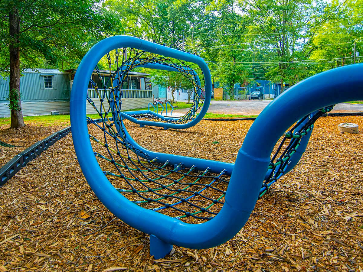 The playscape's helical twist.